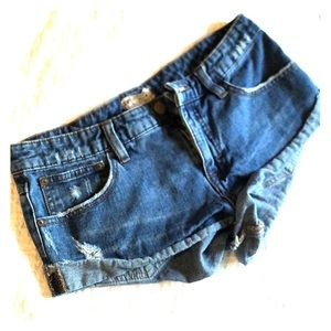 Free people distressed denim shorts slouch